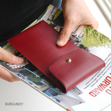 Burgundy - Extra pocket pencil case with snap button