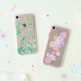 Flower pattern clear TPU iPhone 7 soft case