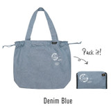 Blue - Tropical travel foldable island denim shoulder bag