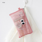 Pink - Som Som stitch mesh zipper pouch