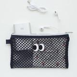 Navy - Som Som stitch mesh zipper pouch