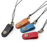 Snap button leather sunglasses necklace