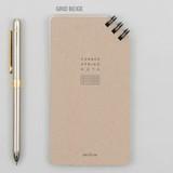 Grid beige - Corner small spiral lined/Grid notepad