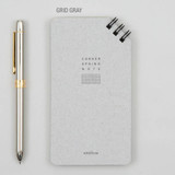 Grid gray - Corner small spiral lined/Grid notepad