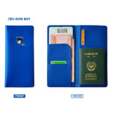 Blue - Du dum travel RFID blocking long passport case