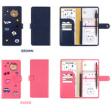 Option of Line friends RFID blocking long passport case with leather sticker