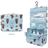 Brown - Line friends travel hanging toiletry pouch bag