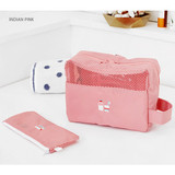 Indian pink - Travel toiletry bag and toothbrush pouch set