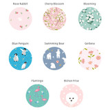Animal and flower pattern round hand fan