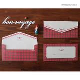 Vintage red check - Retro pattern envelope set