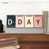 Color - Simple flip perpetual standing desk calendar