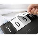 Detail of Simple flip perpetual standing desk calendar