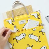 Duck - Jam Jam pattern zipper small tote bag