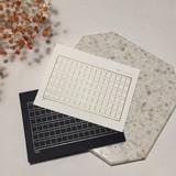 White Black squared manuscript paper postcard