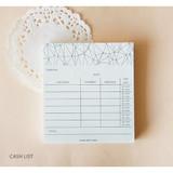 Cash list - Time frame To do list memo pad