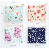 Option - Blossom pattern medium zipper flat pouch