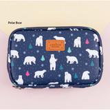 Polar bear - Pattern cube zip around multi pouch