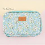 Mint cherry blossom - Pattern cube zip around multi pouch