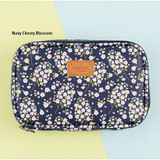 Navy cherry blossom - Pattern cube zip around multi pouch