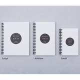 Size of Black White spiral plain notebook - White