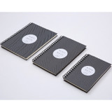 Size of Black White spiral plain notebook - Black