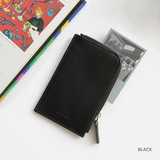 Black - Caily half zip around card case holder