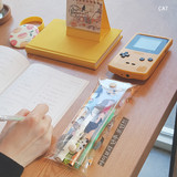 Cat - Buri cat and penguin clear folding pencil case