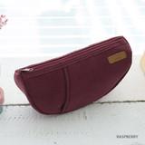 Raspberry - A low hill winter corduroy half moon zipper pouch