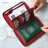 Burgundy - Travel brief zip around pocket wallet organizer