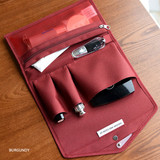 Burgundy - Holiday travel hanging toiletry pouch bag