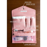Composition of Holiday travel hanging toiletry pouch bag