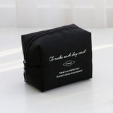 Black - ICONIC Plain cosmetic makeup small zipper pouch