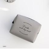 Gray - ICONIC Plain cosmetic makeup medium zipper pouch