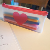 N.IVY Simple heart clear zip lock multi pouch