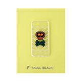 F - Skull(Black) - Leather sticker clear TPU jelly case for iPhone 6S