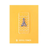 B - Eiffel tower - Leather sticker clear TPU jelly case for iPhone 6S