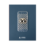A - eyes - Leather sticker clear TPU jelly case for iPhone 6S