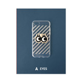 A - eyes - Leather sticker clear TPU jelly case for iPhone 7