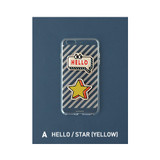 A - Hello/Star - Leather sticker clear TPU jelly case for iPhone 6S plus