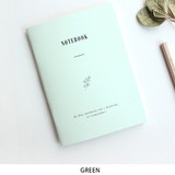Green - Pastel floral A6 small lined notebook