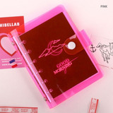 Pink - Retro 6-ring small grid notebook with neon PVC cover