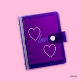 Purple - Retro 6-ring small graph grid notebook