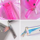 Clear pocket folding pencil case pouch