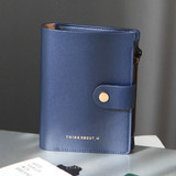 Navy - Think about W passport case wallet with zipper pocket