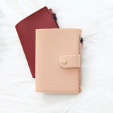 Pink - Think about W passport case wallet with zipper pocket