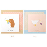Bear, Duck - Animal message card with envelope