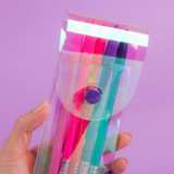 Snap button closure - Hologram pocket jelly pencil case