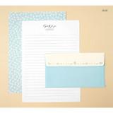 Blue - Soft flower pattern letter paper and envelope