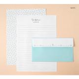 White - Soft flower pattern letter paper and envelope