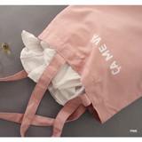 Pink - Even odds cotton shoulder tote bag